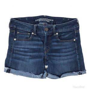 AEO Super Stretch Frayed Hem Jean Shorts